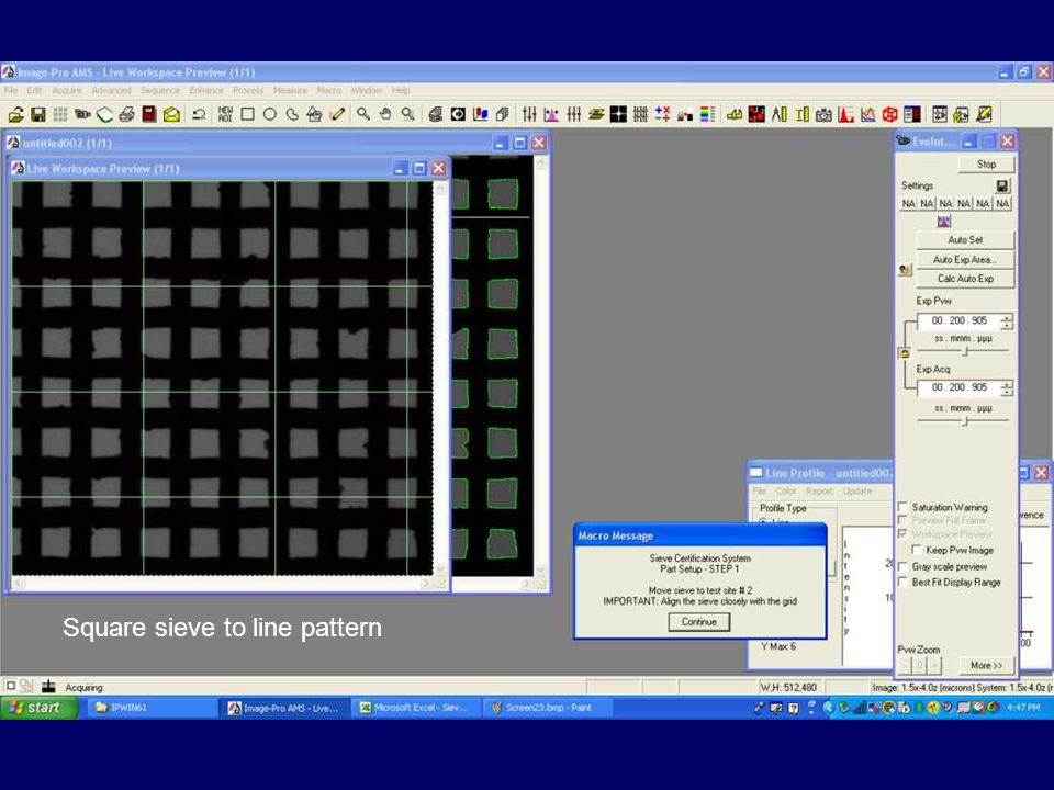 Square sieve to line pattern