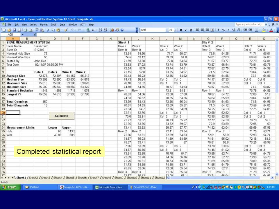 Completed statistical report