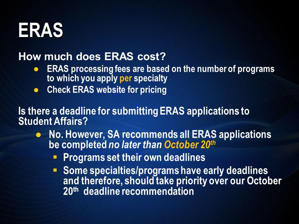 ERAS How much does ERAS cost.