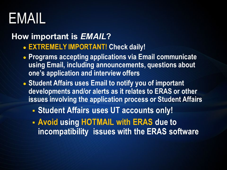 EMAIL How important is EMAIL. ● EXTREMELY IMPORTANT.
