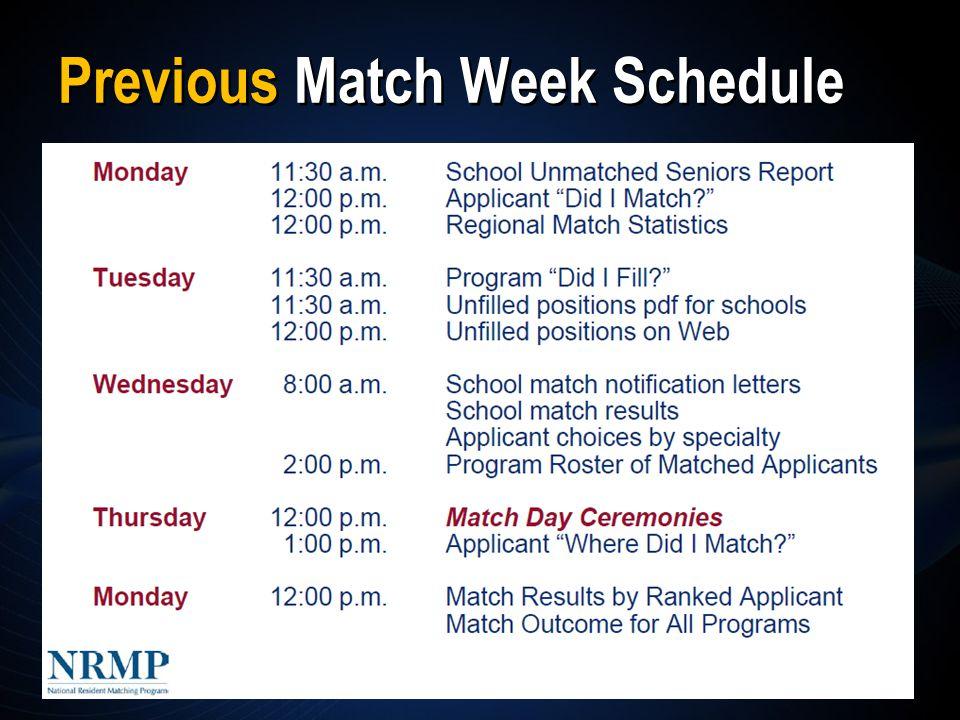 Previous Match Week Schedule