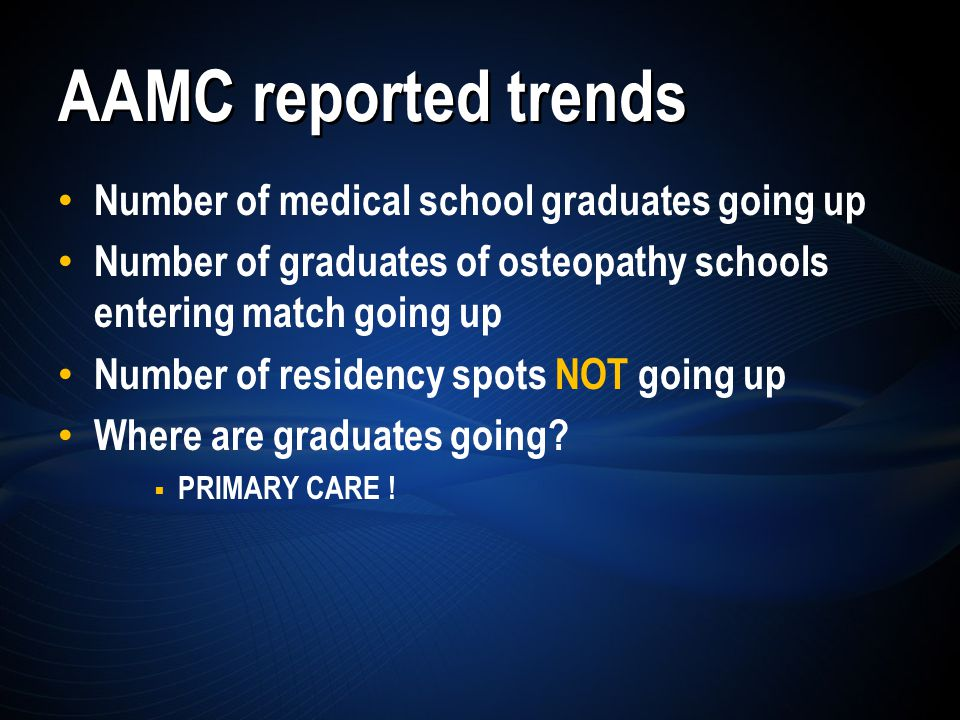 Number of medical school graduates going up Number of graduates of osteopathy schools entering match going up Number of residency spots NOT going up Where are graduates going.