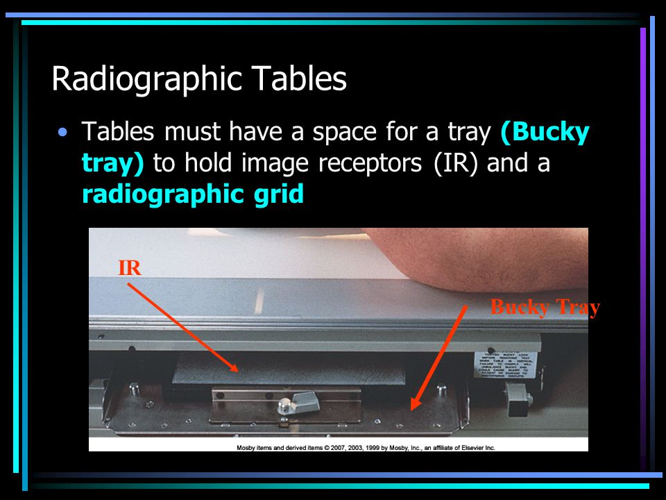 Radiographic Tables Tables must have a space for a tray (Bucky tray) to hold image receptors (IR) and a radiographic grid IR Bucky Tray