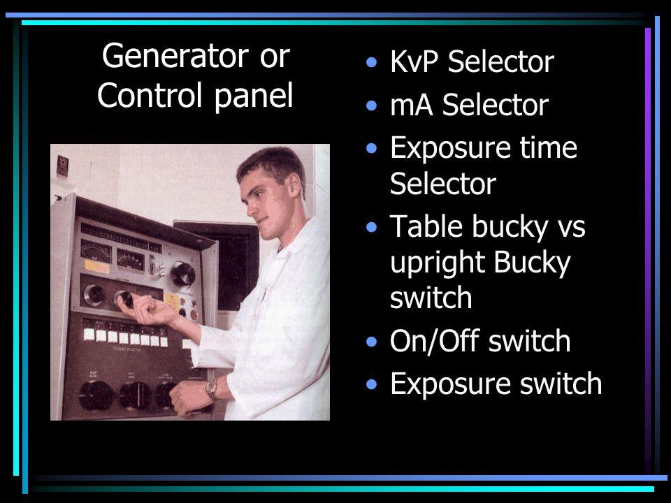 Generator or Control panel KvP Selector mA Selector Exposure time Selector Table bucky vs upright Bucky switch On/Off switch Exposure switch