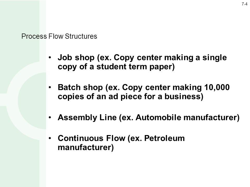 Process Flow Structures Job shop (ex.