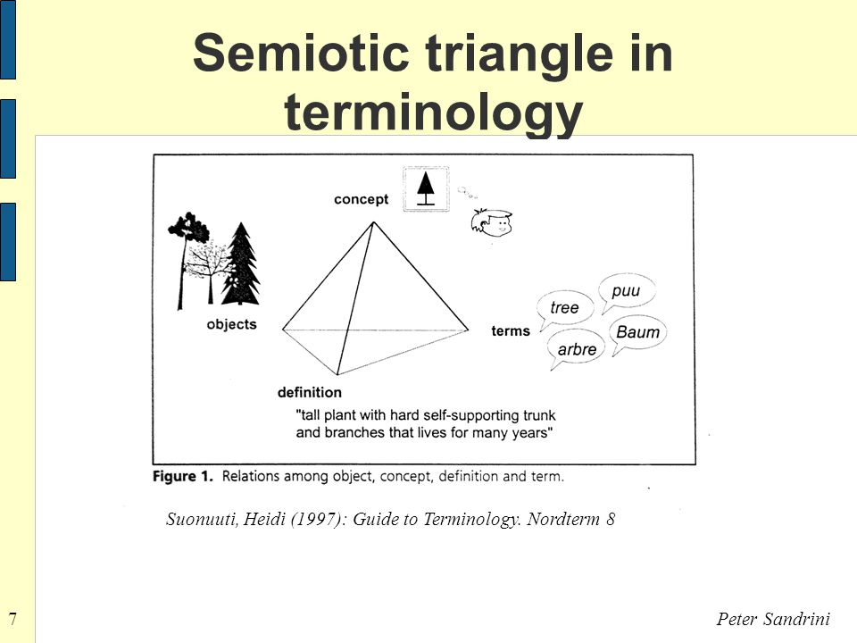 7Peter Sandrini Semiotic triangle in terminology Suonuuti, Heidi (1997): Guide to Terminology.