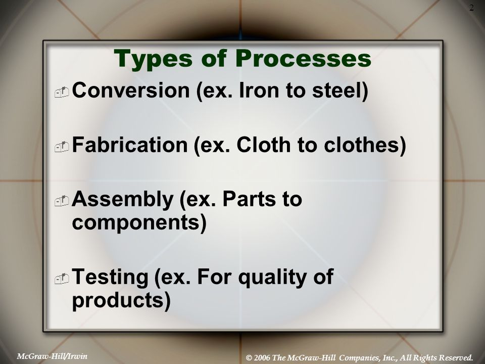 McGraw-Hill/Irwin © 2006 The McGraw-Hill Companies, Inc., All Rights Reserved. 2 Types of Processes  Conversion (ex. Iron to steel)  Fabrication (ex
