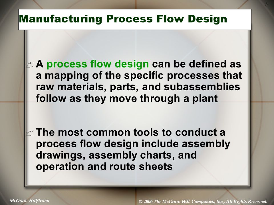 McGraw-Hill/Irwin © 2006 The McGraw-Hill Companies, Inc., All Rights Reserved. 5 Manufacturing Process Flow Design  A process flow design can be defi