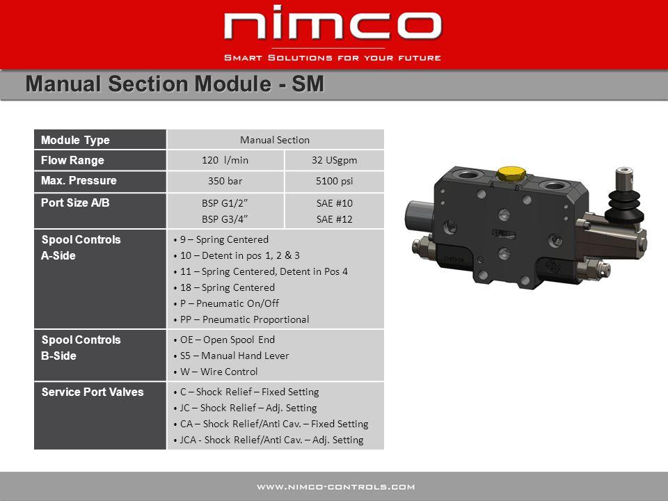 Manual Section Module - SM Module Type Manual Section Flow Range 120 l/min32 USgpm Max.