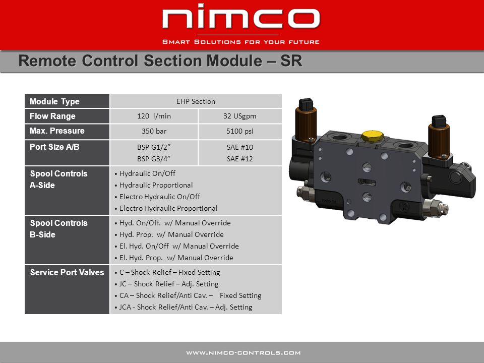 Remote Control Section Module – SR Module Type EHP Section Flow Range 120 l/min32 USgpm Max.