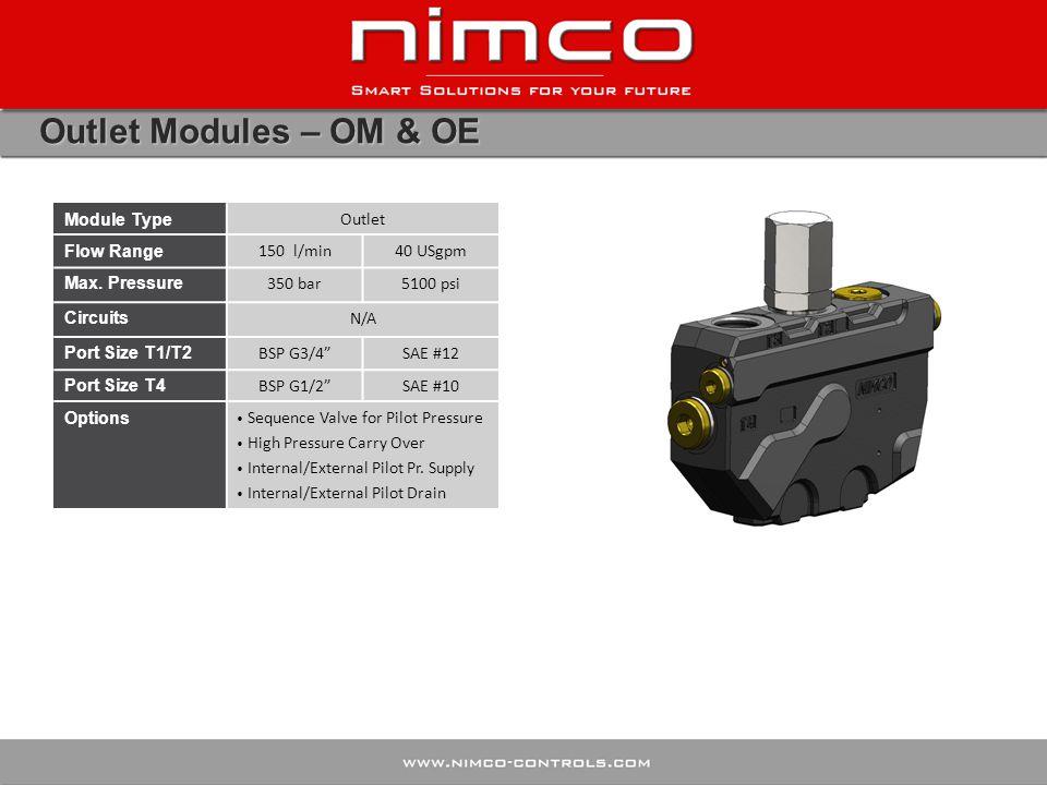 Outlet Modules – OM & OE Module Type Outlet Flow Range 150 l/min40 USgpm Max.
