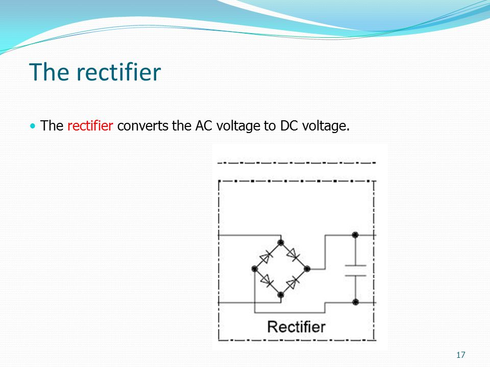 The rectifier The rectifier converts the AC voltage to DC voltage. 17