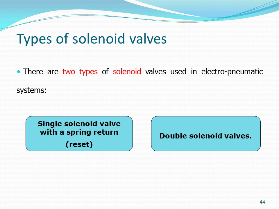 Types of solenoid valves There are two types of solenoid valves used in electro-pneumatic systems: Single solenoid valve with a spring return (reset)