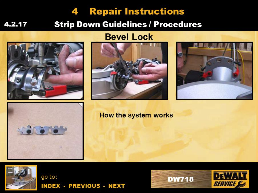 go to: INDEX - PREVIOUS - NEXT DW718 4Repair Instructions Strip Down Guidelines / Procedures 4.2.17 Bevel Lock How the system works