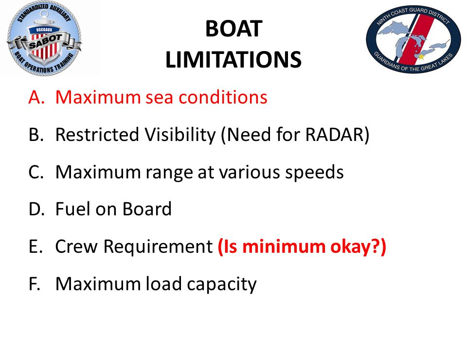 BOAT LIMITATIONS A. Maximum sea conditions B. Restricted Visibility (Need for RADAR) C. Maximum range at various speeds D. Fuel on Board E. Crew Requi
