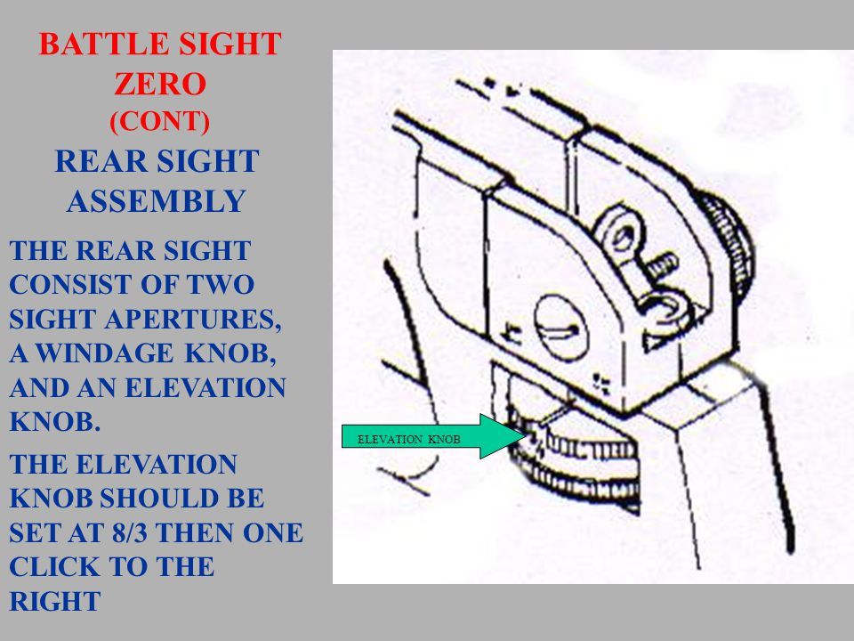 FRONT SIGHT ASSEMBLY THE FRONT SIGHT CONSIST OF A SQUARE, ROTATING SIGHT POST WITH A FOUR POSITION, SPRING-LOADED DETENT.
