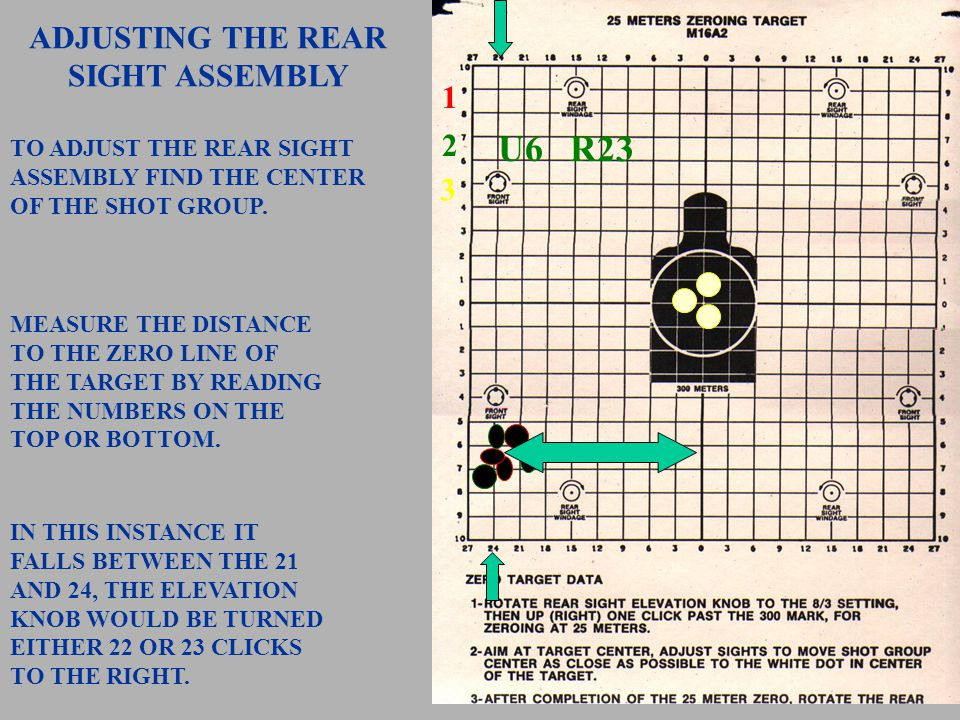 1 2 TO ADJUST THE FRONT SIGHT ASSEMBLY FIND THE CENTER OF THE SHOT GROUP. MEASURE THE DISTANCE TO THE ZERO LINE ON THE TARGET BY READING THE NUMBERS O