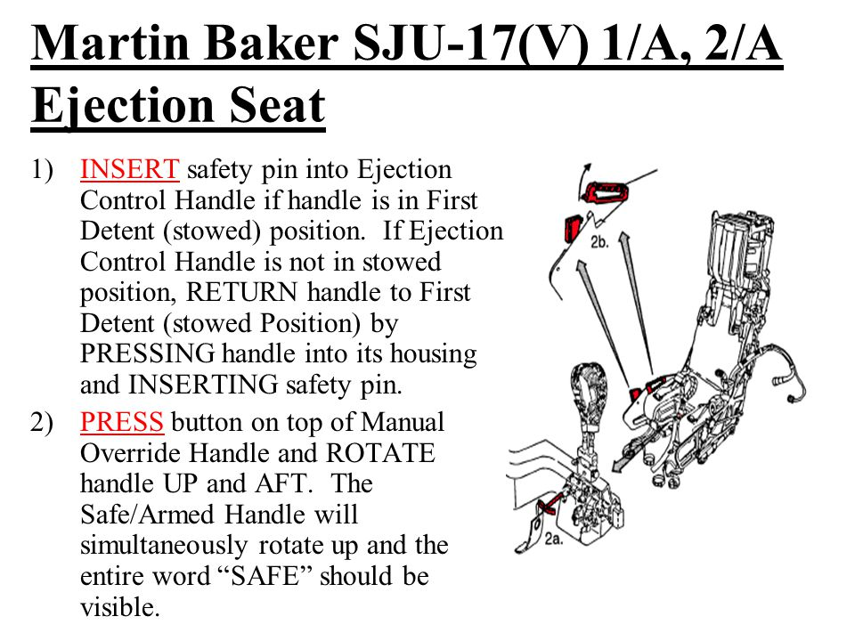Martin Baker SJU-17(V) 1/A, 2/A Ejection Seat 1)INSERT safety pin into Ejection Control Handle if handle is in First Detent (stowed) position.