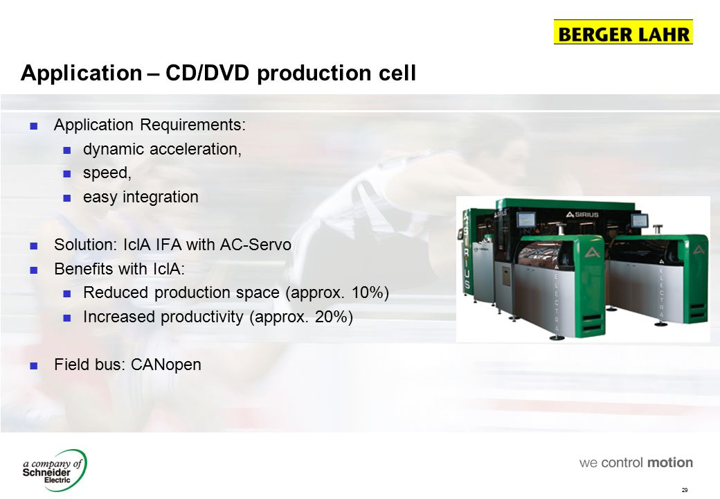 29 Application – CD/DVD production cell Application Requirements: dynamic acceleration, speed, easy integration Solution: IclA IFA with AC-Servo Benef