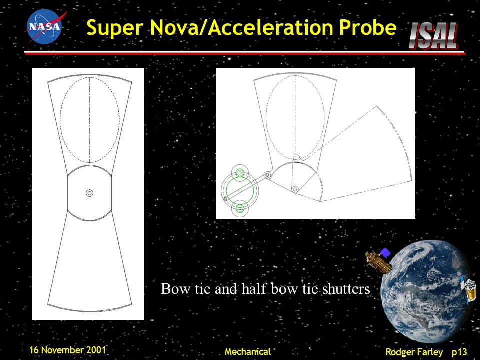 Rodger Farley p13 Super Nova/Acceleration Probe 16 November 2001 Mechanical Bow tie and half bow tie shutters
