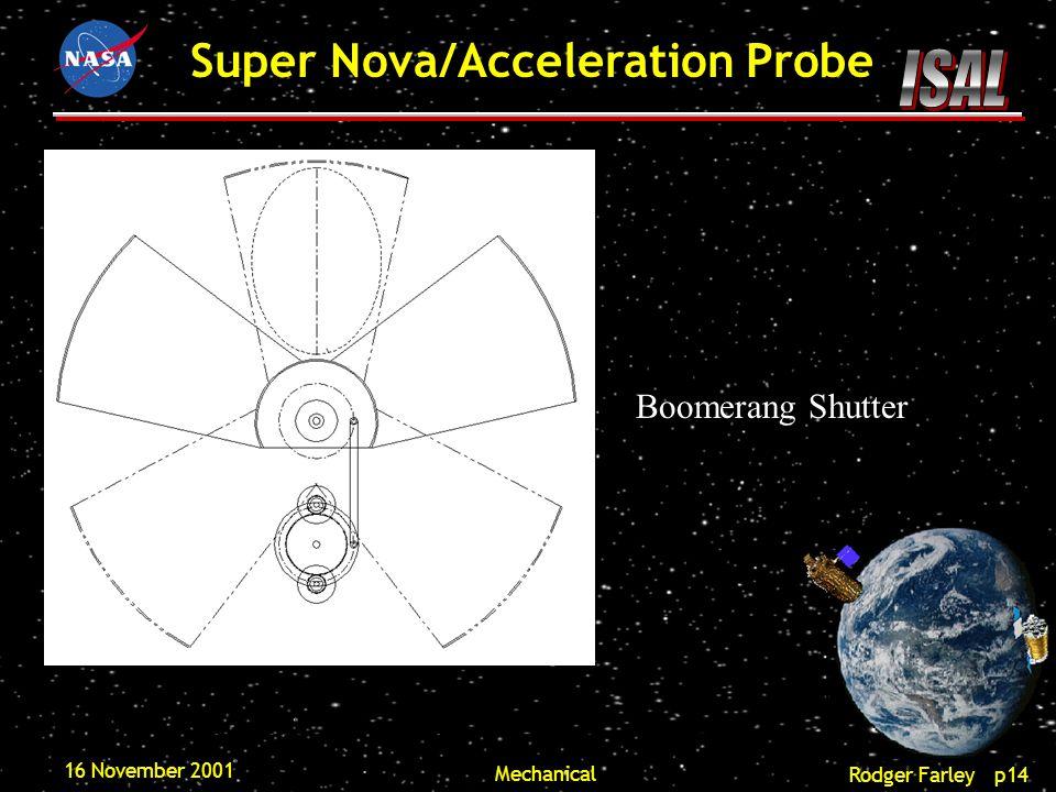 Rodger Farley p14 Super Nova/Acceleration Probe 16 November 2001 Mechanical Boomerang Shutter