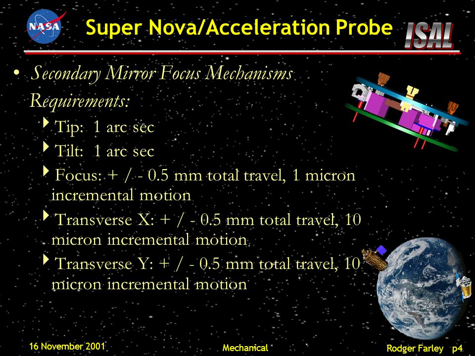 Rodger Farley p5 Super Nova/Acceleration Probe 16 November 2001 Mechanical Design suggestion:  Three point ball-screw mechanism developed by Swales Aerospace.