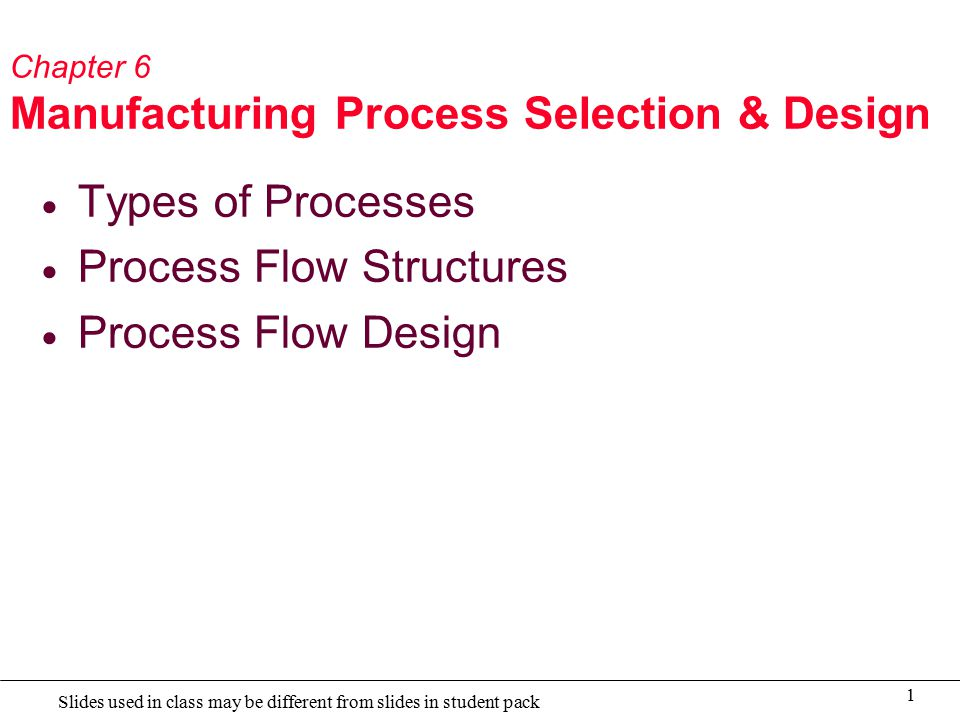 1 Slides used in class may be different from slides in student pack Chapter 6 Manufacturing Process Selection & Design  Types of Processes  Process Flow Structures  Process Flow Design