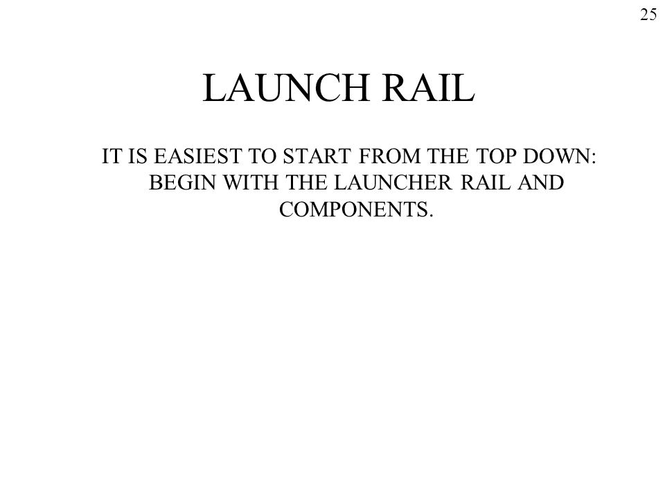 LAUNCH RAIL IT IS EASIEST TO START FROM THE TOP DOWN: BEGIN WITH THE LAUNCHER RAIL AND COMPONENTS. 25