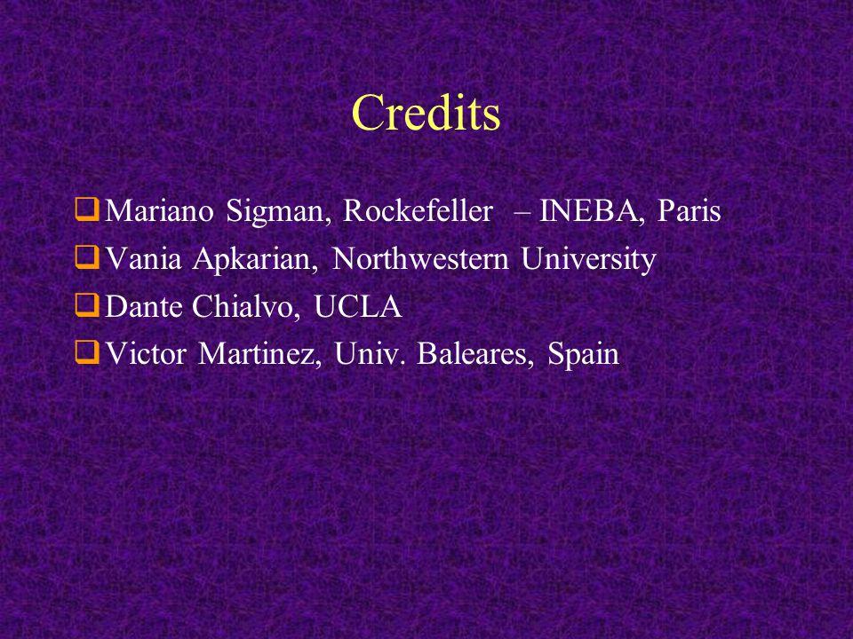 Credits  Mariano Sigman, Rockefeller – INEBA, Paris  Vania Apkarian, Northwestern University  Dante Chialvo, UCLA  Victor Martinez, Univ.