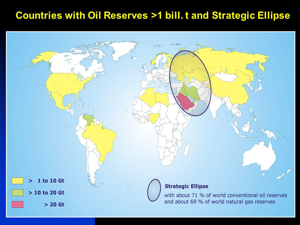 Iran & Russia, Maleki14 Countries with Oil Reserves >1 bill. t and Strategic Ellipse