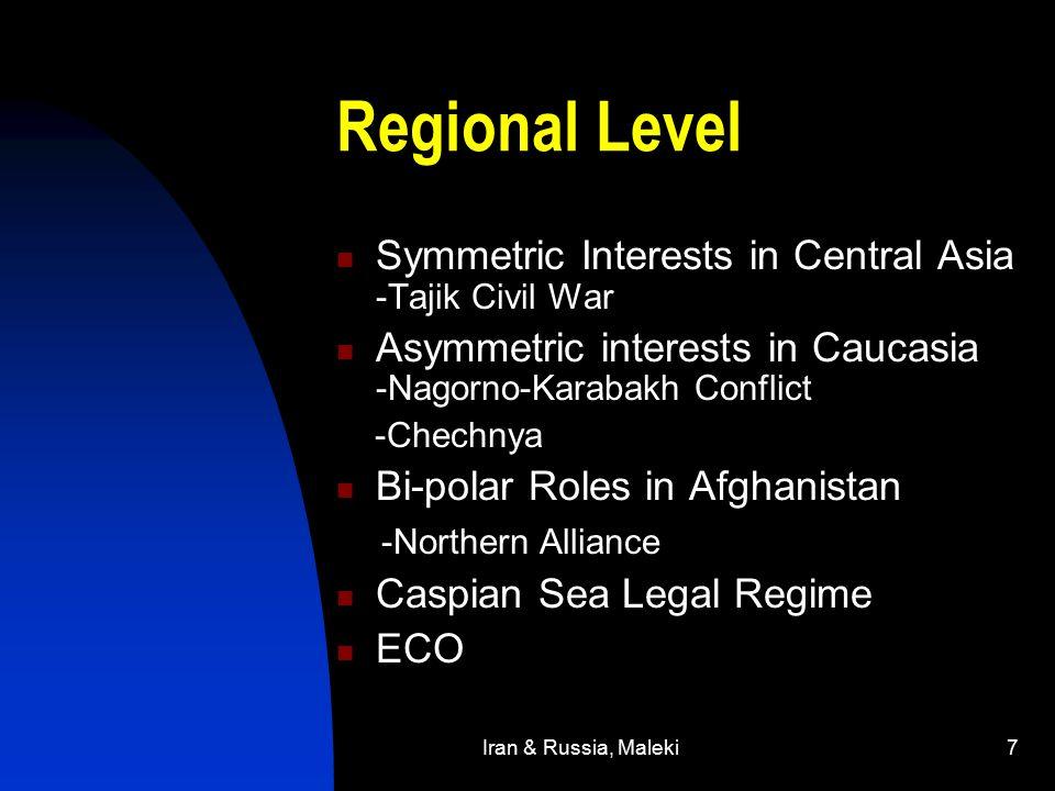 Iran & Russia, Maleki7 Regional Level Symmetric Interests in Central Asia -Tajik Civil War Asymmetric interests in Caucasia -Nagorno-Karabakh Conflict -Chechnya Bi-polar Roles in Afghanistan -Northern Alliance Caspian Sea Legal Regime ECO