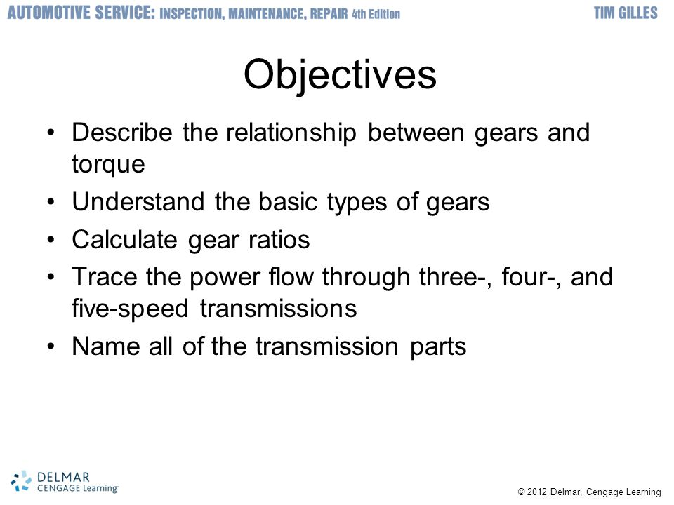 © 2012 Delmar, Cengage Learning Introduction Manual transmission Used with clutch –Shifted between gears manually Transmission –Used in rear-wheel-drive cars Transaxle –Used in front-wheel-drive cars