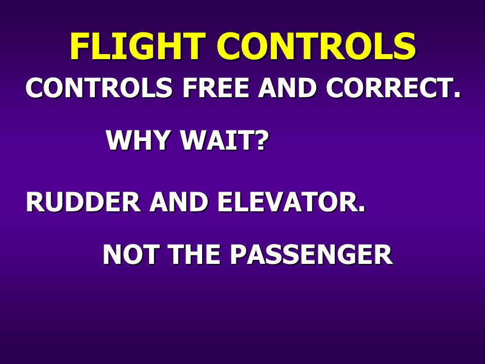 CONTROLS FREE AND CORRECT. RUDDER AND ELEVATOR. FLIGHT CONTROLS WHY WAIT NOT THE PASSENGER
