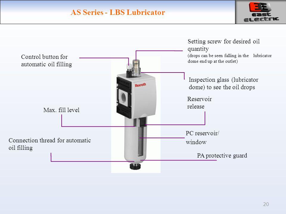 20 AS Series - LBS Lubricator PC reservoir/ window PA protective guard Max.
