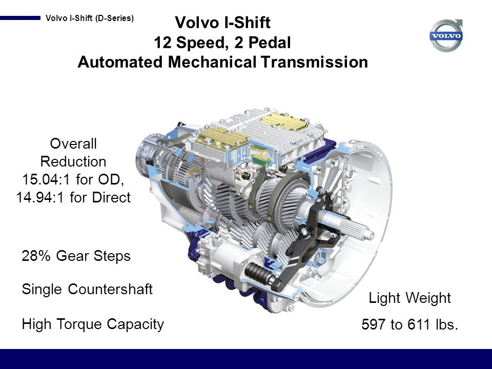 Volvo I-Shift (D-Series) I-Shift Objectives Provide a transmission that offers the following: Fuel economy - intelligent software, Performance - optimized shifting program Reliability – fourth generation of Volvo AMT Smooth operation Custom tailored to customer preferences with feature packages Light weight / increased payload Ease of operation / driver retention Many features that are exclusive to Volvo!