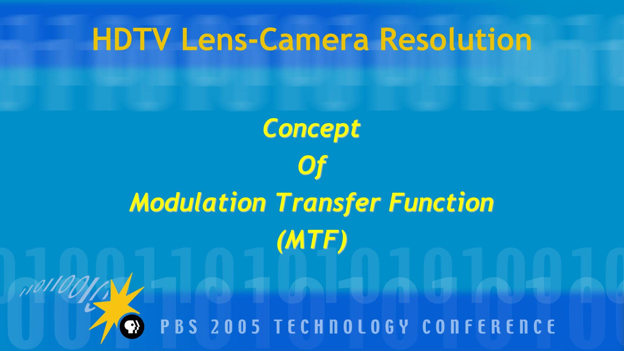 HDTV Lens-Camera Resolution ConceptOf Modulation Transfer Function (MTF)