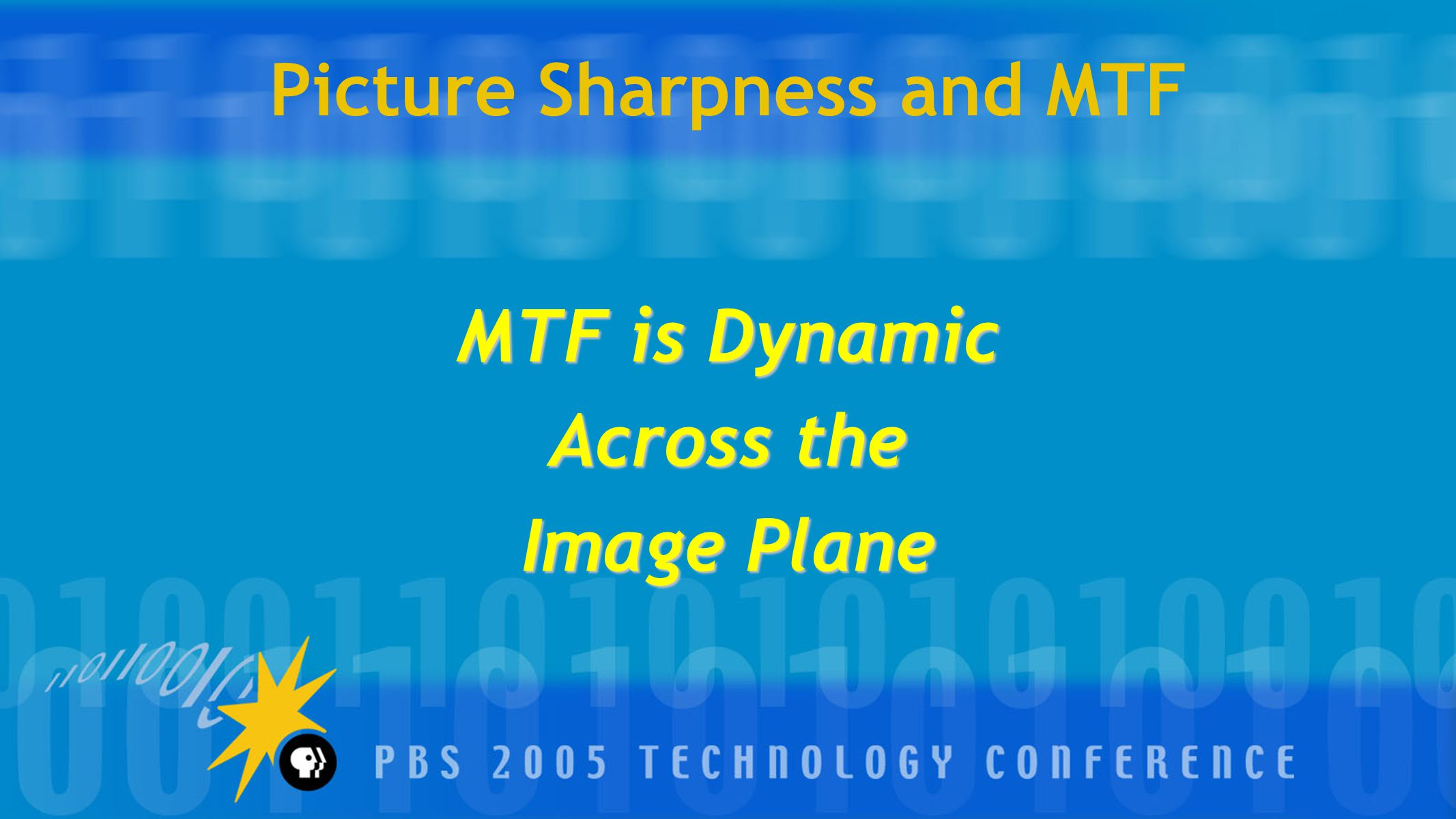Picture Sharpness and MTF MTF is Dynamic Across the Image Plane