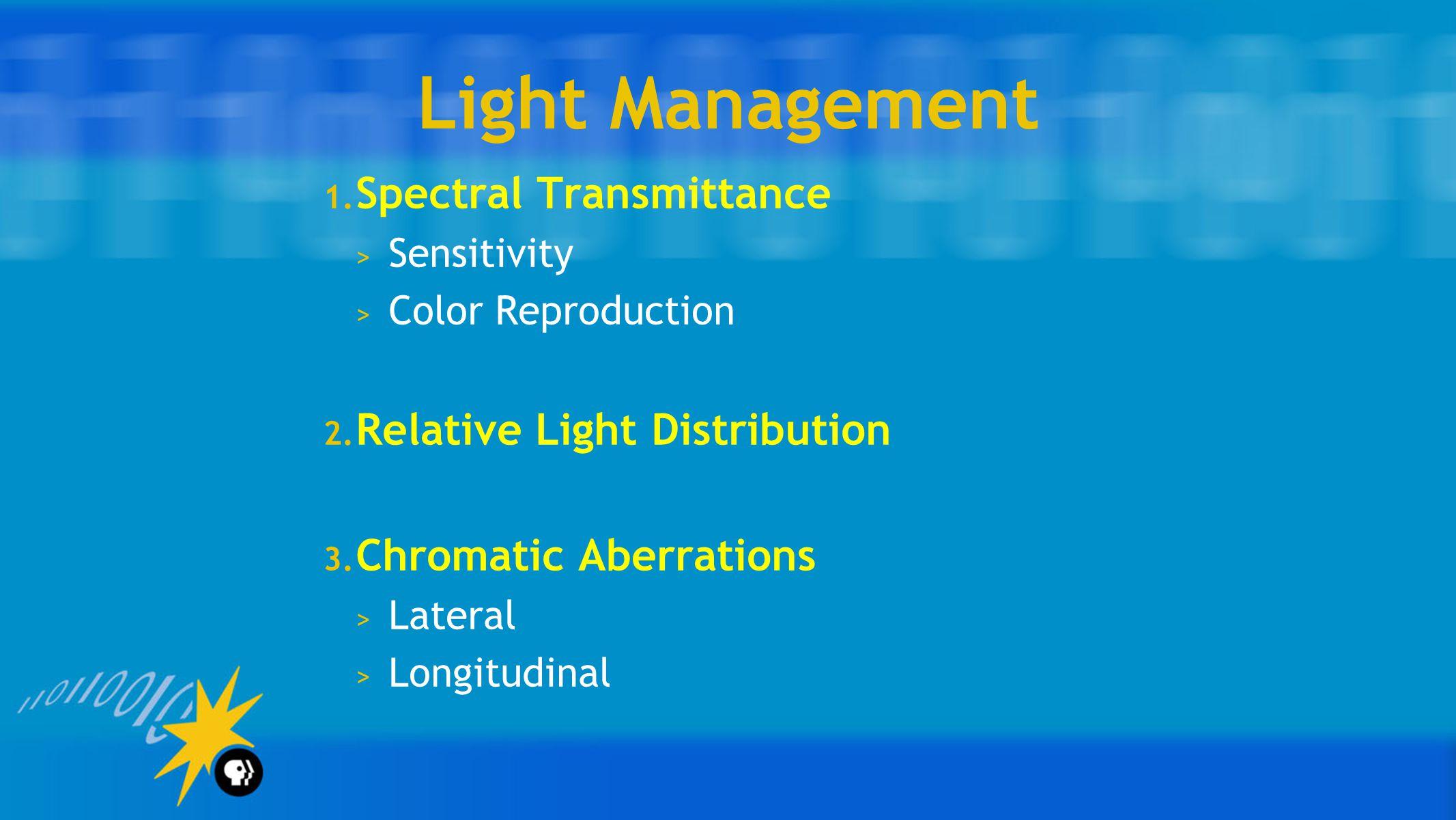Light Management 1. Spectral Transmittance > Sensitivity > Color Reproduction 2.