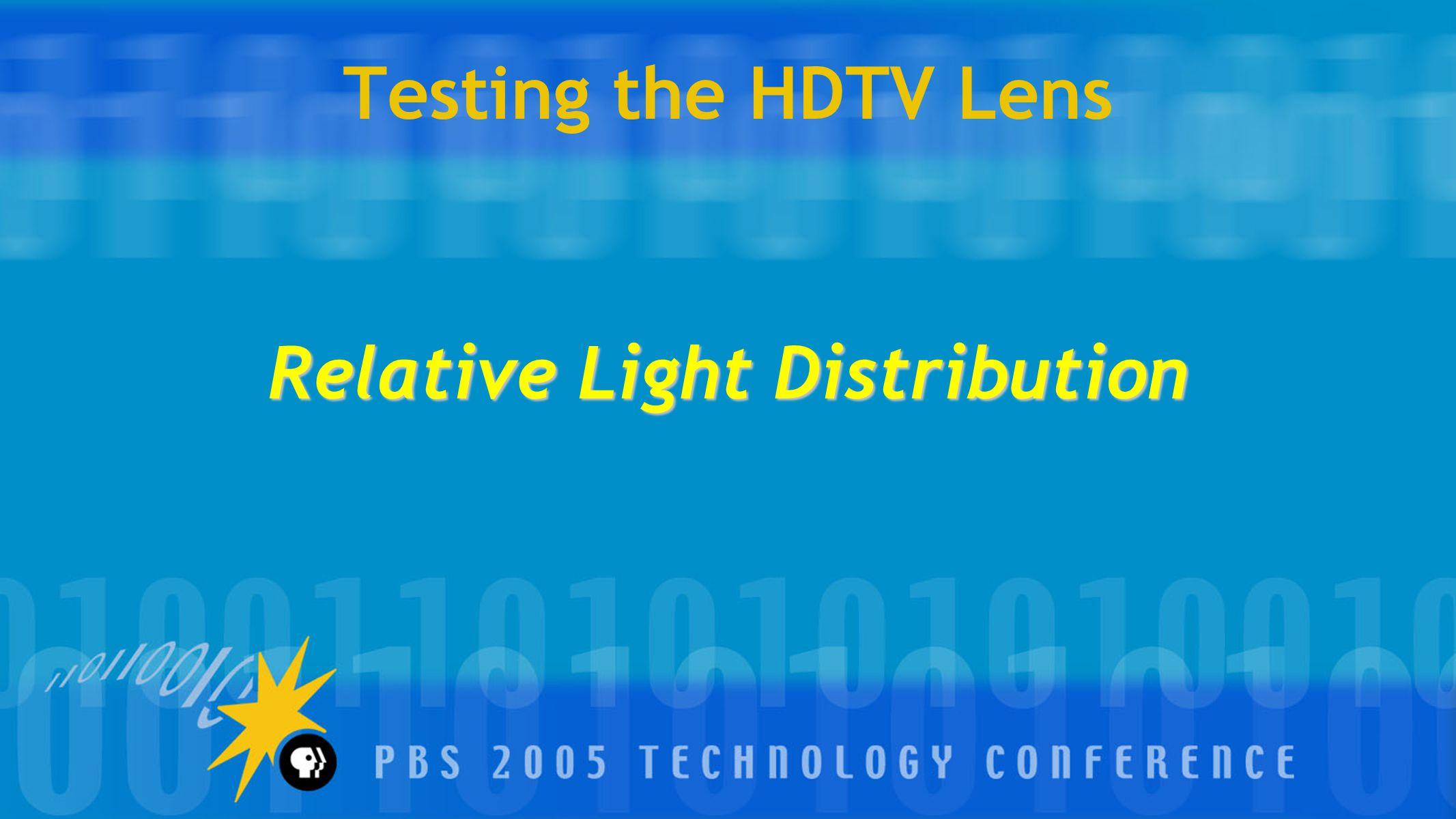 Testing the HDTV Lens Relative Light Distribution