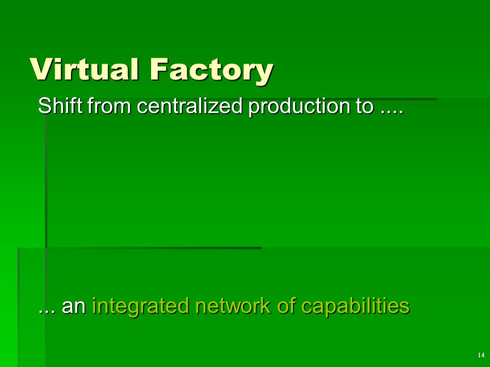 14 Virtual Factory Shift from centralized production to.......