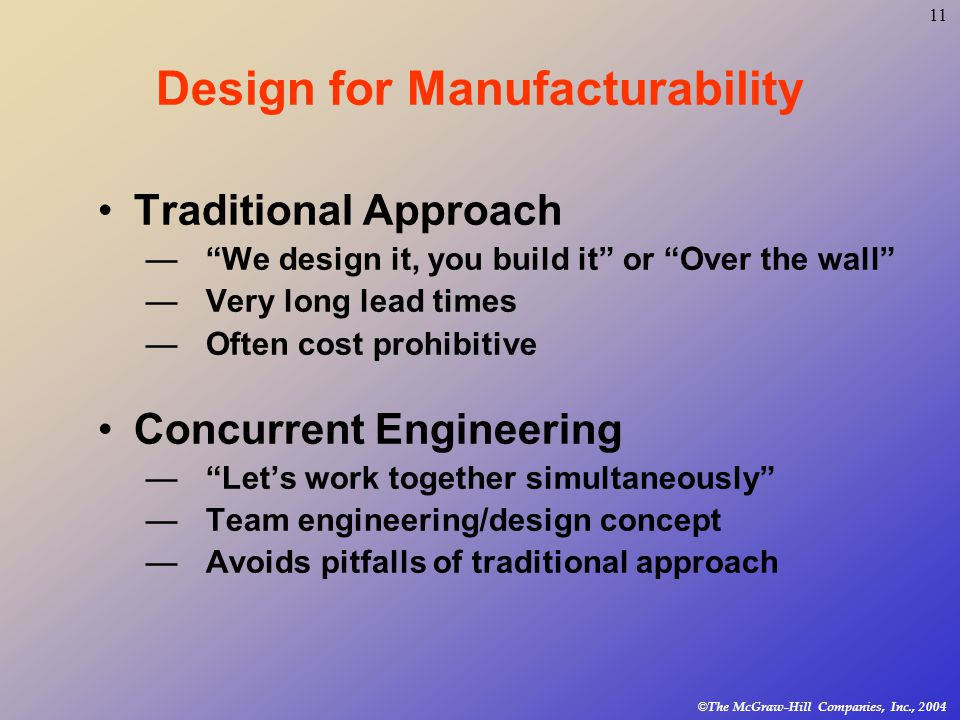 11 © The McGraw-Hill Companies, Inc., 2004 Design for Manufacturability Traditional Approach — We design it, you build it or Over the wall —Very long lead times —Often cost prohibitive Concurrent Engineering — Let's work together simultaneously —Team engineering/design concept —Avoids pitfalls of traditional approach