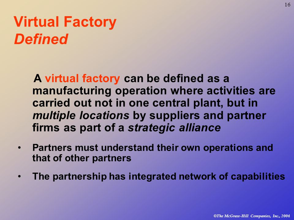 16 © The McGraw-Hill Companies, Inc., 2004 Virtual Factory Defined A virtual factory can be defined as a manufacturing operation where activities are carried out not in one central plant, but in multiple locations by suppliers and partner firms as part of a strategic alliance Partners must understand their own operations and that of other partners The partnership has integrated network of capabilities