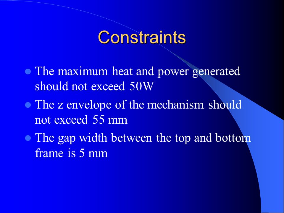 Constraints The maximum heat and power generated should not exceed 50W The z envelope of the mechanism should not exceed 55 mm The gap width between the top and bottom frame is 5 mm