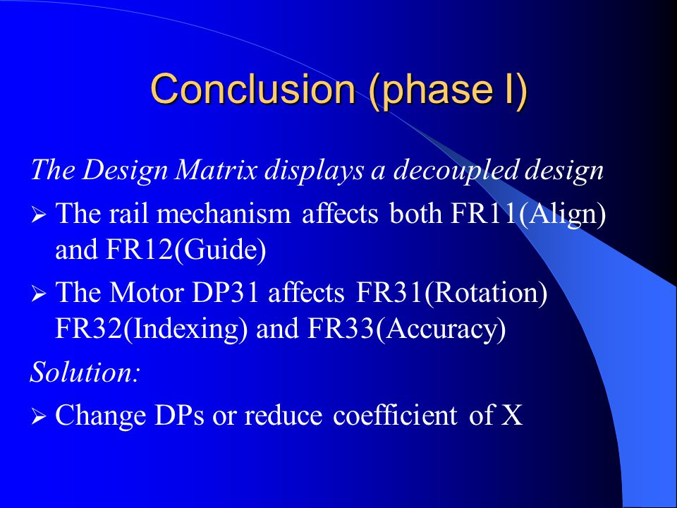 Conclusion (phase I) The Design Matrix displays a decoupled design  The rail mechanism affects both FR11(Align) and FR12(Guide)  The Motor DP31 affects FR31(Rotation) FR32(Indexing) and FR33(Accuracy) Solution:  Change DPs or reduce coefficient of X