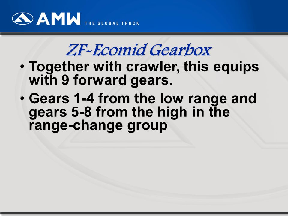66 Together with crawler, this equips with 9 forward gears. Gears 1-4 from the low range and gears 5-8 from the high in the range-change group ZF-Ecom