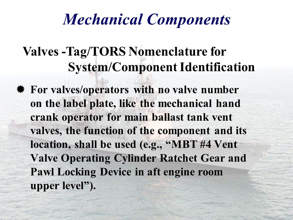 Mechanical Components  Normally, only include the valve number on the tag and TORS. Valves - Tag/TORS Nomenclature for System/Component Identificatio