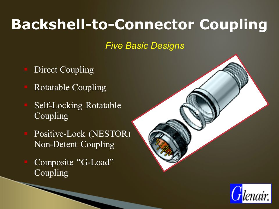 Backshell-to-Connector Coupling  Five Basic Designs  Direct Coupling  Rotatable Coupling  Self-Locking Rotatable Coupling  Positive-Lock (NESTOR)