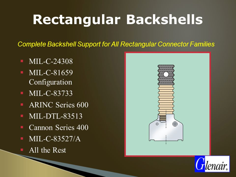  Complete Backshell Support for All Rectangular Connector Families  MIL-C-24308  MIL-C-81659 Configuration  MIL-C-83733  ARINC Series 600  MIL-D