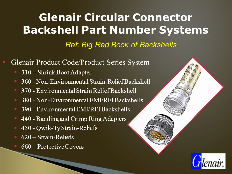  Ref: Big Red Book of Backshells  Glenair Product Code/Product Series System  310 – Shrink Boot Adapter  360 - Non-Environmental Strain-Relief Bac