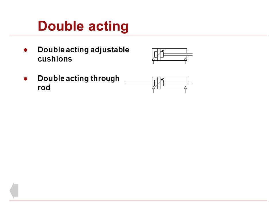 Double acting Double acting adjustable cushions Double acting through rod